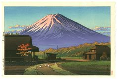Kawase Hasui: Autumn in Funatsu, First Edition Japanese Woodblock Print Japanese Art Styles, Japanese Artwork, Japanese Painting, Japanese Prints, Japan Illustration, Illustration Pictures, Monte Fuji, Art Occidental, Japanese Woodcut