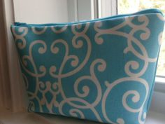 Cosmetic Case  Aqua Scroll by KathrynBrookeDesign on Etsy, $19.00