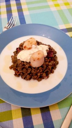 Pan-seared scallops with lentils, bacon, mascarpone and cider reduction  Recipe: http://www.bonappetit.com/recipe/pan-seared-sea-scallops-with-lentils-bacon-and-cider-reduction
