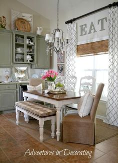 Little Decorating Ideas ~ eat in kitchen.  LOVE those brown woven curtains behind the drapes!