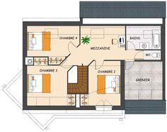 plan de maison contemporaine 4 chambres avec grenier et garage - Plan Maison Avec Jardin Interieur