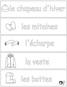 French Winter Clothes - Worksheets - English for Children - French for Children . French Language Lessons, French Language Learning, Learn A New Language, Spanish Language, Ways Of Learning, Learning Italian, Learning Spanish, How To Speak Italian, Learn To Speak French