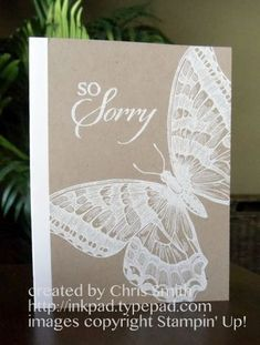 Chris Smith/from my ink pad to yours - swallowtail butterfly card embossed white or white ink. Like the white on crumb cake Stamping Up Cards, Get Well Cards, Paper Cards, Scrapbook Cards, Scrapbooking Ideas, Creative Cards, Flower Cards, Cute Cards, Homemade Cards
