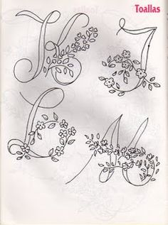 27 Ideas embroidery monogram ideas pictures for 2019 Embroidery Alphabet, Embroidery Monogram, Cross Stitch Alphabet, Hand Embroidery Patterns, Vintage Embroidery, Ribbon Embroidery, Cross Stitch Embroidery, Simple Embroidery, Machine Embroidery