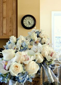 loving these flowers for a beash wedding! blush, blue & ivory bouquet