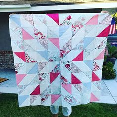 I wasn't going to post this one but I figured I would post the good with the bad. My #starburstquilt just didn't come out like I imagined. I love this fabric but I'm lacking contrast to show the starburst. I still love it and I will quilt it and use it. And I plan on making another one 😉. #msqcshowandtell #missouristarquiltco #loveletterfabric #zenchicmoda #quilttop  #sewing
