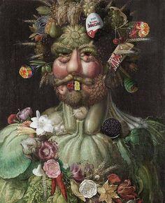 Giuseppe Arcimboldo, Vertumnus – Portrait Kaiser Rudolf II. (1591) – Süßwaren diverser Hersteller