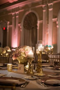 Wedding Reception Table Decor with Ivory and Blush Floral Centerpieces and Gold Candelabras