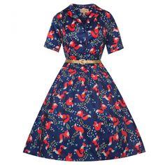 'Bletchley' Indigo Fox Print Shirt Swing Dress