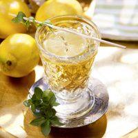 Zitrone heiß abwaschen und in Scheiben schneiden. Pfefferminze waschen und trocken schütteln. Weißwein mit Holunderblütensirup und einer...