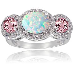 Glitzy Rocks Sterling Silver White Topaz Pink Tourmaline Created Opal... ($39) ❤ liked on Polyvore featuring jewelry, rings, pink, opal band ring, wide sterling silver rings, opal ring, pink ring and oval opal ring