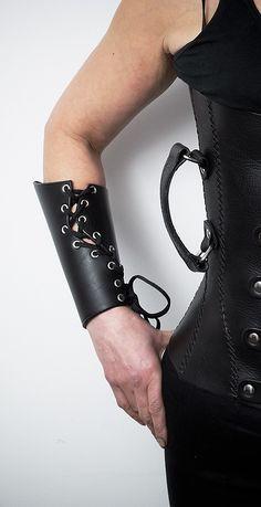 Black lace-up Leather bracer $75