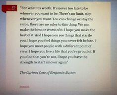 Frase de El curioso caso de Benjamin Button