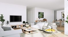 Modern High Class Apartment Living Room Design With Beautiful White Walls Color Paint And White Fabric Plose Sofa Plus Rectangle Brown Wooden Coffee Table On Area Beige Rugs, Extraordinary Scandinavian Home Interior Design Ideas: Interior