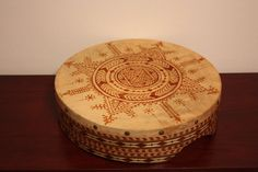12 inch Henna stained goat skin deff drum with Moroccan design