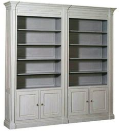 Bookcase painted in Antique White over Grey, with Grey interior. Available in a range of different paint finishes