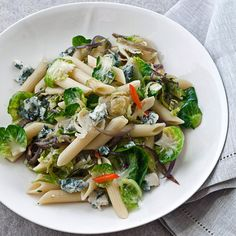 Penne Rigate with Brussels Sprouts and Gorgonzola | Creamy blue cheese melts into the Brussels sprouts and penne in this dish, creating a luxurious sauce.
