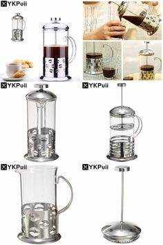 [Visit to Buy] Stainless Steel Glass Teapot Cafetiere French Coffee Tea Percolator Filter Press Plunger Manual Coffee Espresso Maker Pot #Advertisement