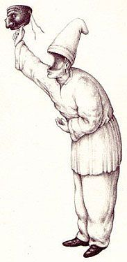 Pulcinella most often wore a black mask with all white clothing. This symbolized the contrast between life and death.