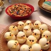 Deviled egg chicks.  Cute. - Click image to find more Holidays Pinterest pins