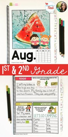 1st and 2nd grade writing | Bell ringer journal | grades 1 & 2 | writing prompts | journal prompts for the entire school year | classroom routine | warm ups | elementary writing | reading and writing skills
