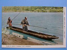 古い絵葉書 アイヌ まとめて 8枚 熊祭り 美人 彫刻 鮭漁 (J2)_画像1