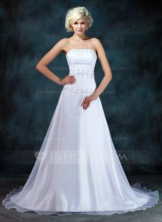 Wedding Dresses - $169.99 - A-Line/Princess Strapless Chapel Train Organza Satin Wedding Dress With Ruffle Beadwork Sequins (002001403) http://jjshouse.com/A-Line-Princess-Strapless-Chapel-Train-Organza-Satin-Wedding-Dress-With-Ruffle-Beadwork-Sequins-002001403-g1403?ver=0wdkv5eh