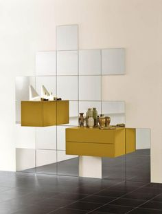 With 368 anyone can become the designer of his or her own space, design by Daniele Lago #lago #design #yellow #368 #interior #mirror