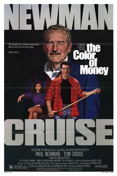 "Director Martin Scorsese's ""The Color of Money"" a sequel to director Robert Rosen's ""The Hustler"" Paul Newman at last won his Best Actor Oscar again playing Fast Eddie Felson; joined by Tom Cruise. Paul Newman, Martin Scorsese, Tom Cruise, Love Movie, Movie Tv, 80s Movies, Movie Place, Oscar Movies, Movie Trivia"