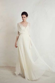 """Julio Top with Lucky Skirt from Cortana wedding dresses Bridal Collection - Silk satin top with silk tulle flowing layered skirt - see the rest of the collection on <a href=""""http://www.onefabday.com"""" rel=""""nofollow"""" target=""""_blank"""">www.onefabday.com</a>"""