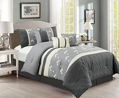 Chezmoi Collection Sophia 7piece Chenille Poppy Flowers Pleated Embroidery Floral Bedding Comforter Set Queen Gray >>> AMAZON Great Sale