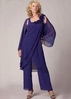 Bridesfamily Modest PantSuits Chiffon Square Neckline Ankle-length Mother Of The Bride Dress With Detachable Coat Mother Of The Groom Suits, Mother Of The Bride Dresses Long, Mothers Dresses, Summer Dresses 2014, Chiffon Pants, Womens Dress Suits, Groom Outfit, Plus Size Womens Clothing, Plus Size Dresses