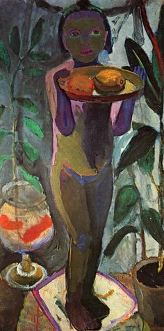 Paula Modersohn-Becker (German 1876–1907) [German Expressionism] Kinderakt mit Goldfischglas, circa 1906-1907.