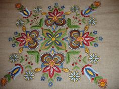 Polish Embroidery pattern could be inspiration for felt design Polish Embroidery, Hungarian Embroidery, Crewel Embroidery, Ribbon Embroidery, Cross Stitch Embroidery, Fabric Crafts, Sewing Crafts, Sewing Projects, Machine Embroidery Designs
