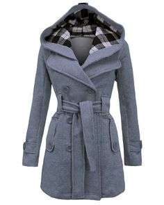 Stylish Women's Hooded Double-Breasted Long Sleeve Worsted Coat