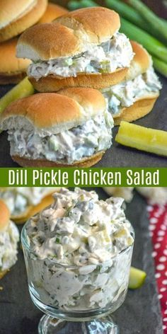 This chicken salad is ultra creamy, and the sauce has real pickle juice stirred right on in. Chunks of rotisserie chicken, diced crisp dill pickle pieces, and a mild garlicky tang from freshly sliced green onions, this is Dill Pickle Chicken Salad makes the definition of a hearty Summer sandwich supper. #pickles #chicken #chickensalad #sandwich