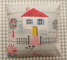 Mini 50s 60s Fabric cushion pillow by Jane Foster by Janefoster
