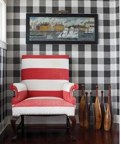 This combination of graphic prints and the pop of red makes me smile!!  UCStyle...