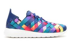Nike Roshe Run Woven sneaks in rainbow. So rad.