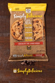 What's behind our new Simply Delicious Chocolate Chip Cookies? High quality ingredients like 100% real chocolate, real butter, pure cane sugar, and cage-free eggs.
