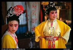 Two characters of Sichua opera off stage. Chengdu, Sichuan, China