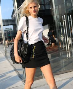 Hanne Gaby Odiele in a Balenciaga skirt