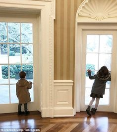 Ivanka's children looking out the windows of the White House. Trump, cute, grandchildren