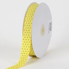 Canary with Apple Dots Grosgrain Ribbon Swiss Dot 7/8 inch 50 Yards * For more information, visit image link.
