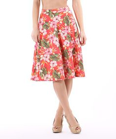 2c50fbd03fbd Look at this LARA Fashion Coral & Green Floral A-Line Skirt on #