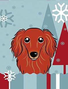 Caroline's Treasures BB1710CHF Winter Holiday Longhair Red Dachshund Canvas House Size Flag, Multicolor, Large ^^ Remarkable product available now. : Garden Christmas Decorations