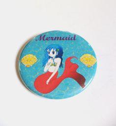 Kawaii Mermaid Anime Pinback Button OR Magnet by MAGICbyAnnaPanda, $3.00