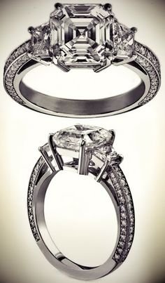 Asscher Cut Diamond Three Stone Trapezoid Cathedral Pave Engagement Ring