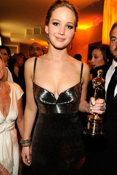 Jennifer Lawrence- Vanity Fair Oscars Party 2013 after winning Best Actress