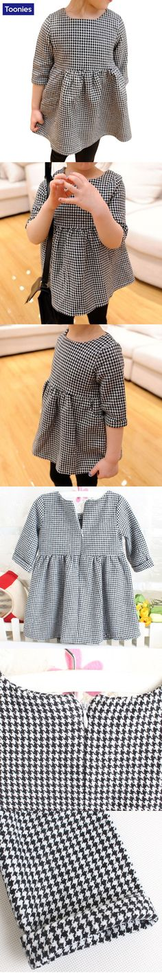 Girls Spring Autumn Baby Girls Fashion Dress Long Sleeve Plaid Printed Princess Cotton Dress High Quality Kids Clothes YY2253 $7.89